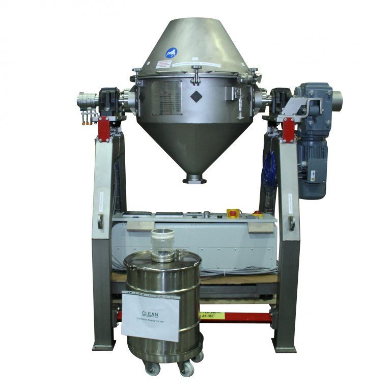 140 litre double cone blender in vertical position.
