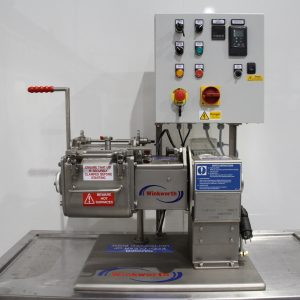Kneader mixer laboratory scale. Jacketed, vacuum and heating/cooling options. Bench mounted, serrated blades.
