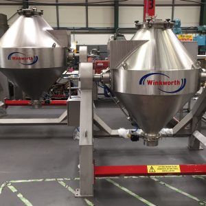 500 litre and 1000 litre double cone tumble blenders together for comparison, front view.