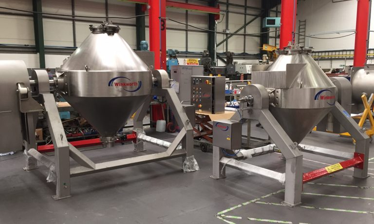500 litre and 1000 litre double cone tumble blenders side view.