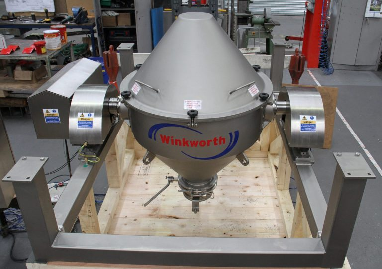 250 litre double cone tumble blender on frame, front view.