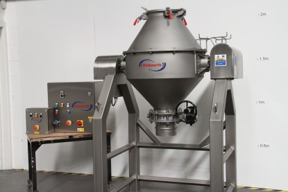 Double cone blender mixer. 170 litres. Open frame. All stainless steel. Clam shell design.