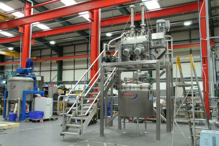 Process vessel - liquid mixing and stirring. Process vessel, stainless steel agitated scrape wall. 500 litre shown. Angled top entry homogeniser. Anchor stirrer blade. Vacuum design. Integrated system with RT200.