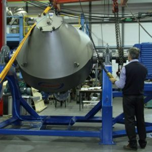 1400 litre double cone tumble blender in factory.