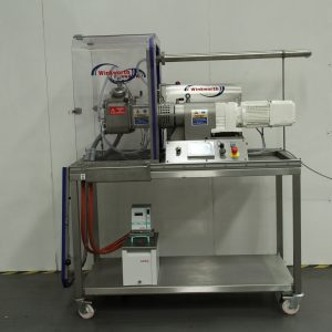 Laboratory scale kneader mixer, 2 litre, jacketed. Tilt discharge. Compact easy clean. Integrated fume cabinet.