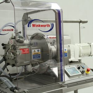 Kneader mixer laboratory scale. Jacketed, trolley mounted. Oil heater. Fume cabinet.