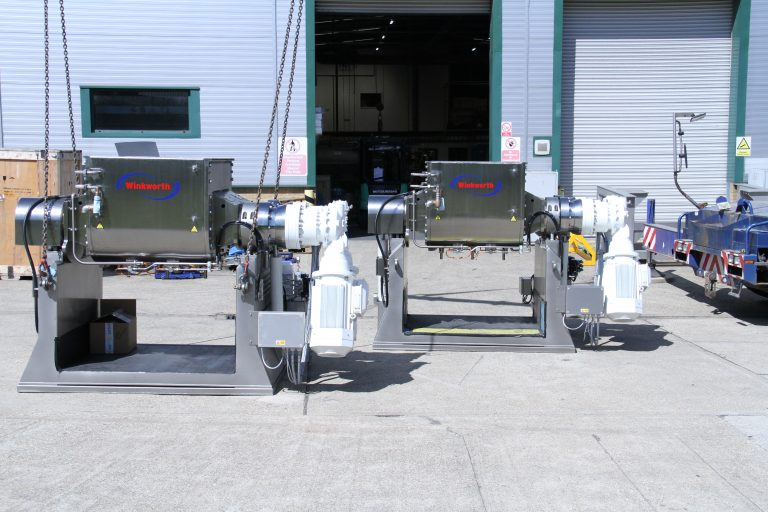 Two 500 litre Z blade kneader mixers.