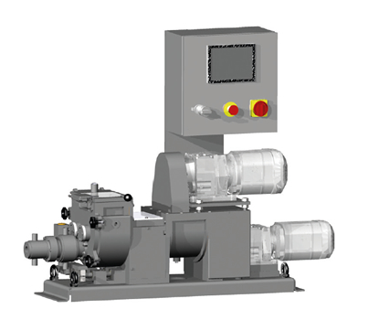 Kneader mixer 2 litre with screw discharge extrusion. Easy clean.