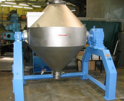 Double cone blender mixer. 3000 litres. Open frame, interlocked.