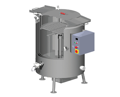 Melt vessel. 100-500 litre size options. Stirred, liquid pouring outlet valve. Melt liquids, fats, creams, sauces for final or preconditional applications.