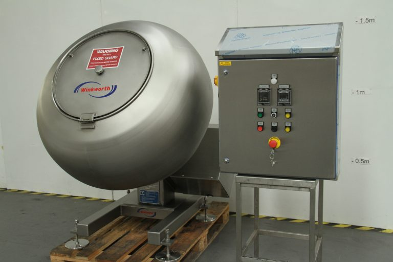 Coating pan for tumble coating, variable speed, baffles. 42 inch. Hinged interlocked cover lid.